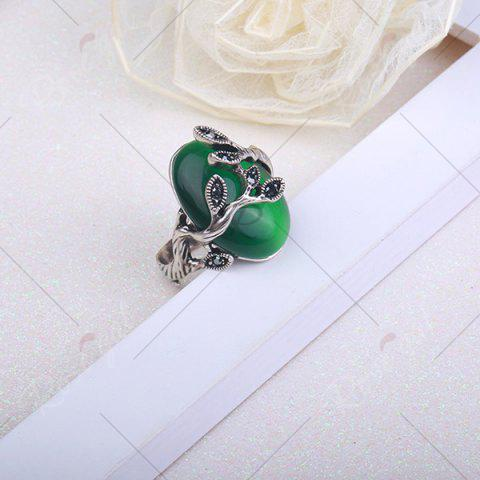 Buy Vintage Faux Emerald Oval Leaf Ring - 8 GREEN Mobile