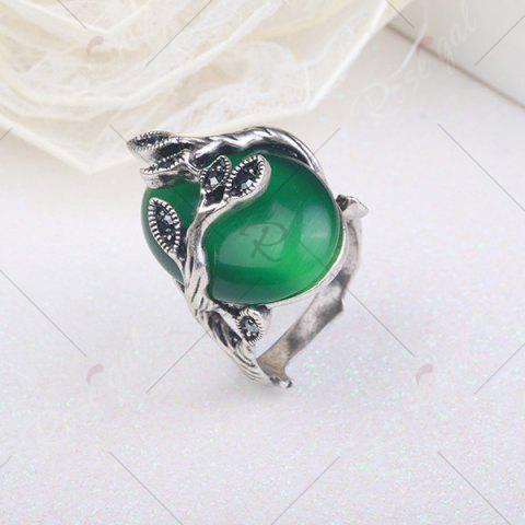 Best Vintage Faux Emerald Oval Leaf Ring - 8 GREEN Mobile