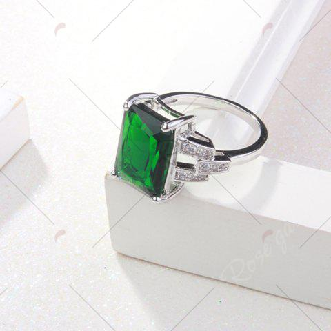 Sale Rhinestone Faux Emerald Geometric Finger Ring - 7 GREEN Mobile