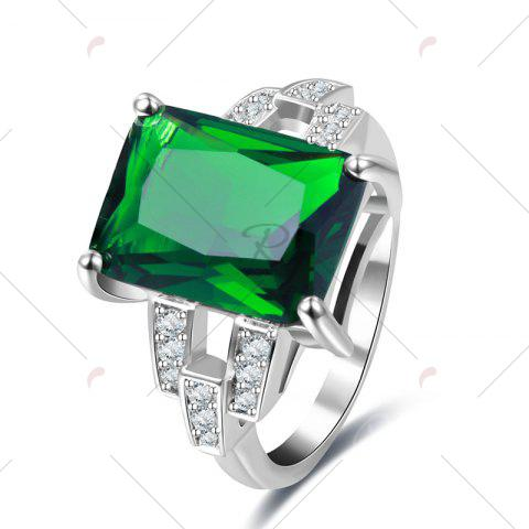 New Rhinestone Faux Emerald Geometric Finger Ring - 7 GREEN Mobile