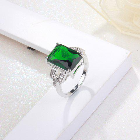 Outfits Rhinestone Faux Emerald Geometric Finger Ring - 7 GREEN Mobile