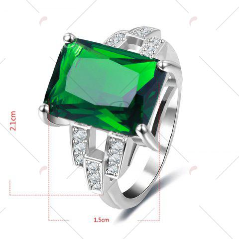 Chic Rhinestone Faux Emerald Geometric Finger Ring - 7 GREEN Mobile