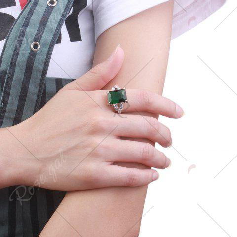 Store Rhinestone Faux Emerald Geometric Finger Ring - 7 GREEN Mobile