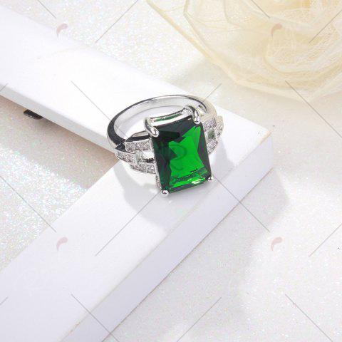 Store Rhinestone Faux Emerald Geometric Finger Ring - 6 GREEN Mobile