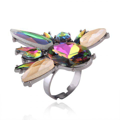 Online Statement Faux Crystal Teardrop Oval Ring COLORMIX