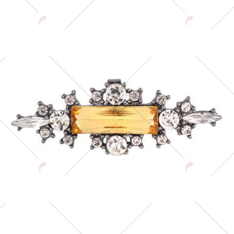 Unique Statement Faux Crystal Geometric Finger Ring - YELLOW  Mobile