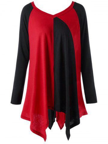 Cheap Plus Size Color Block Handkerchief Top RED/BLACK XL