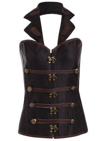 Fashion Halter Lace Up Corset Top - 2XL BROWN Mobile