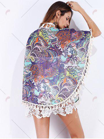 Trendy Tribal Print Tassels Cover Up - S COLORMIX Mobile