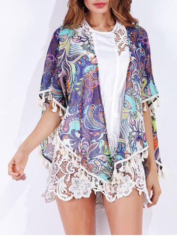 Unique Tribal Print Tassels Cover Up - S COLORMIX Mobile