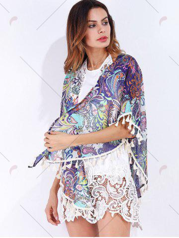 Cheap Tribal Print Tassels Cover Up - S COLORMIX Mobile