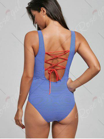 Store Lace-Up Striped One Piece Swimsuit - M BLUE Mobile