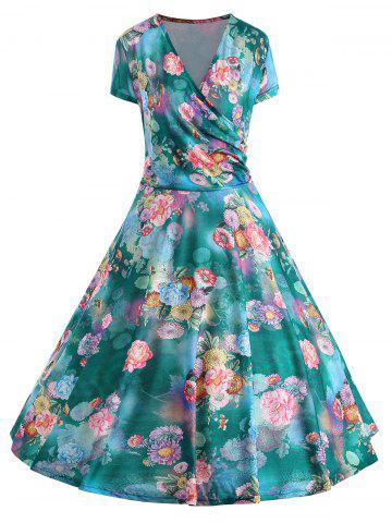 Discount Floral Print Plus Size Pin Up Dress FLORAL 2XL