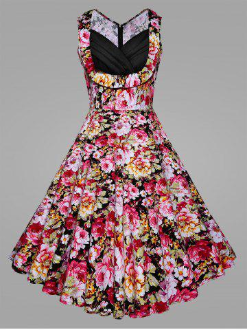 Best Floral Blossom Plus Size Vintage Swing Dress PINK XL