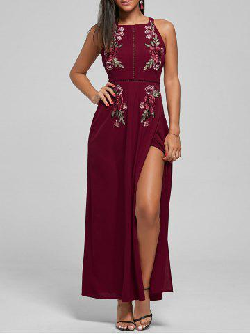 Latest Embroidered Backless Thigh High Slit Maxi Dress DEEP RED S