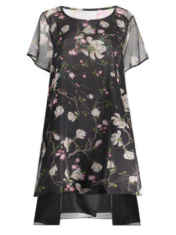 Shop Peacock Print Plus Size Layered Chiffon Dress BLACK 5XL