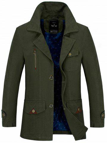 Button Pocket Single Breasted Coat - Army Green - L