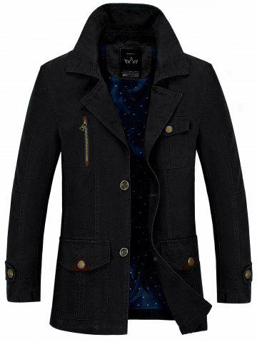 Button Pocket Single Breasted Coat - Black - 3xl
