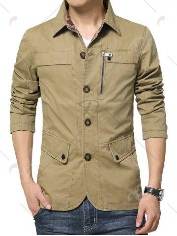 Trendy Single Breasted Snap Button Pocket Coat - L KHAKI Mobile