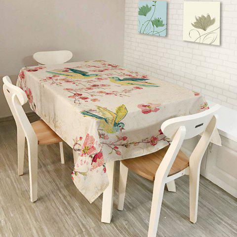 Chic Bird Floral Print Kitchen Dining Table Cloth - W54 INCH * L54 INCH COLORFUL Mobile
