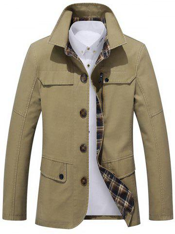 Sale Single Breasted Snap Button Pocket Coat KHAKI 2XL