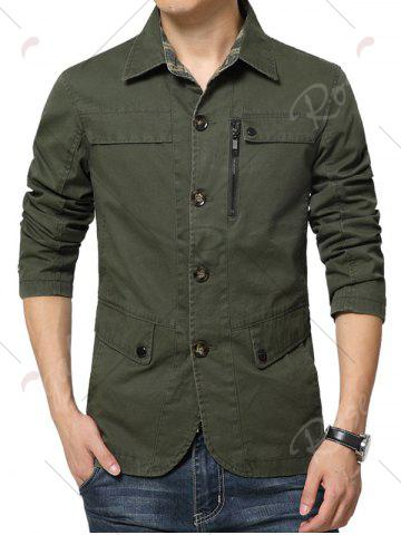 Store Single Breasted Snap Button Pocket Coat - 4XL GREEN Mobile