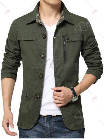New Single Breasted Snap Button Pocket Coat - 4XL GREEN Mobile