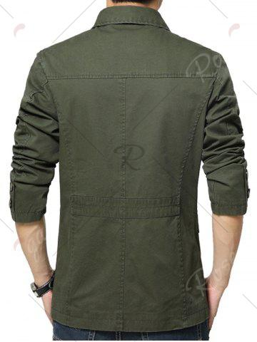 Shop Single Breasted Snap Button Pocket Coat - 4XL GREEN Mobile