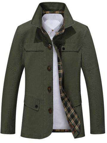 Shop Single Breasted Snap Button Pocket Coat GREEN 3XL