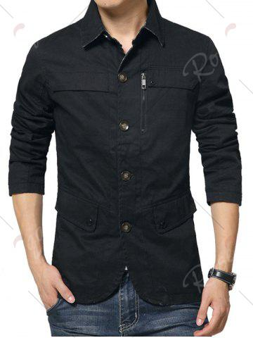 Trendy Single Breasted Snap Button Pocket Coat - 4XL BLACK Mobile