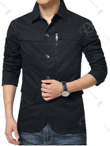 Buy Single Breasted Snap Button Pocket Coat - 4XL BLACK Mobile