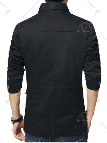 Sale Single Breasted Snap Button Pocket Coat - 4XL BLACK Mobile