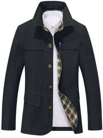 Single Breasted Snap Button Pocket Coat - Black - 3xl
