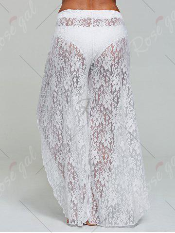 Discount Lace Tulip Swim Cover Up Pants - S WHITE Mobile