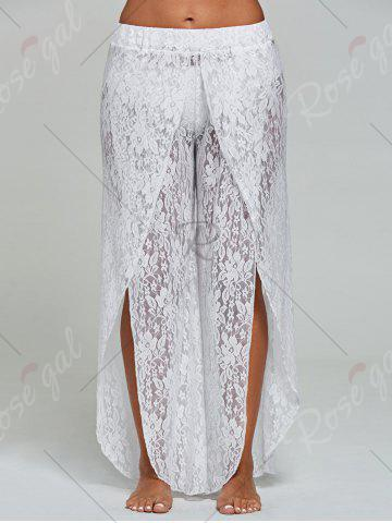 Chic Lace Tulip Swim Cover Up Pants - S WHITE Mobile