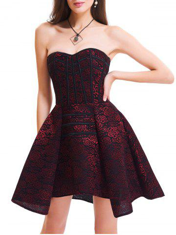 Strapless Floral Lace-up Corset Dress - Red - 2xl