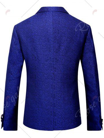 Outfits One Button Heathered Blazer - 4XL ROYAL Mobile
