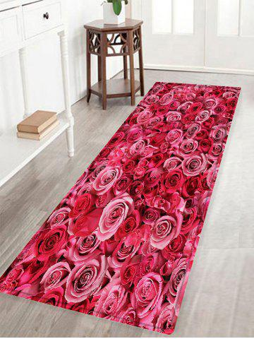 Rose Flowers Pattern Anti-skid Water Absorption Area Rug - Deep Pink - W16 Inch * L47 Inch