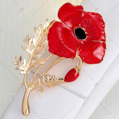 Outfits Plating Showy Flower Shape Brooch - RED  Mobile
