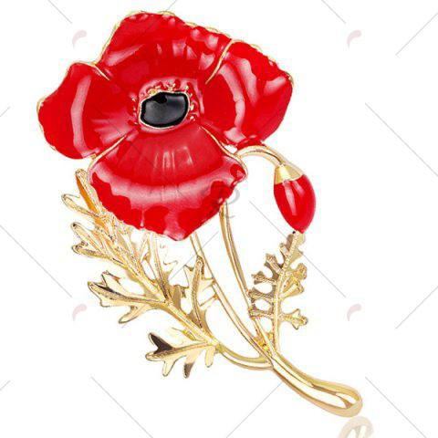 Latest Plating Showy Flower Shape Brooch - RED  Mobile