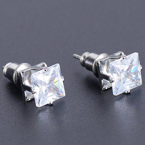 Faux Diamond Square Stud Earrings - Silver