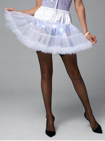 Light Up Ruffles Tutu Voile Cosplay Jupe Blanc TAILLE MOYENNE