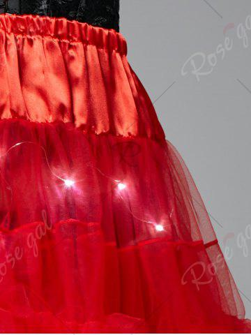 Store Light Up Ruffles Tutu Voile Cosplay Skirt - ONE SIZE RED Mobile