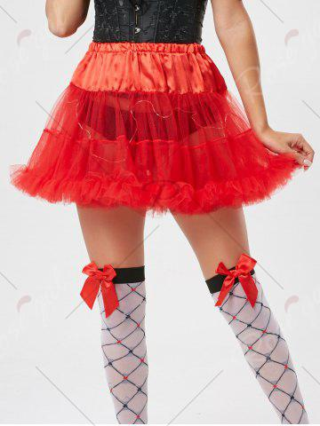 Fashion Light Up Ruffles Tutu Voile Cosplay Skirt - ONE SIZE RED Mobile