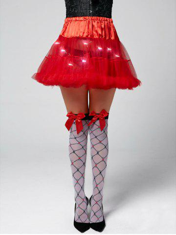 Light Up Ruffles Tutu Voile Cosplay Jupe Rouge TAILLE MOYENNE