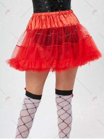 Outfit Light Up Ruffles Tutu Voile Cosplay Skirt - ONE SIZE RED Mobile