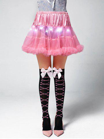 Light Up Ruffles Tutu Voile Cosplay Jupe Rose Clair TAILLE MOYENNE