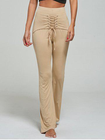 High Waist Lace Up Corset Pants - Khaki - 2xl