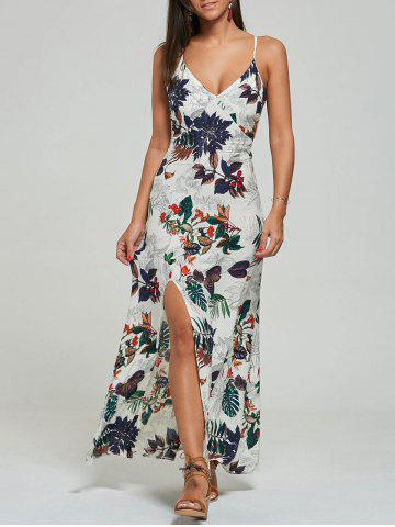 Store Maxi Print High Slit Slip Ankle Length Dress OFF-WHITE S