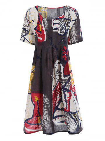Buy Plus Size Funny Drawing Smock Dress with Pockets
